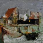 Depiction of a group of fishermen's houses next to a small harbour.