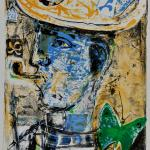 Blue faced figure smoking a pipe and wearing a hat with green butterfly and other decorative motifs.