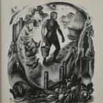 Illustration for Thomas Gray s  Elegy Written in a Country Churchyard , based on stanza 16. Parker s monochromatic wood engraving depicts a central figure of a man. The man is standing in a farmyard, holding a wooden pail, followed by several chickens, with a steading to his right and haystacks to his left.