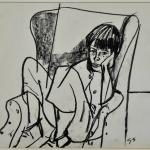 Line drawing of a youth with knees raised, seated on an arm chair.