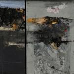Abstract painting, split into two panels. This assemblage uses oil paint, newsprint, tissue, coloured paper and pencil.