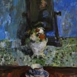 Still life depicting a blue and white cup and saucer in front of a vase containing flowers.