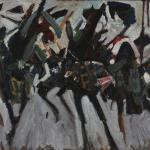 Abstracted image of riders on horseback.