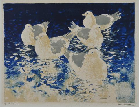 In this print, the artist depicts five gulls sitting quietly in calm water, viewed from above.
