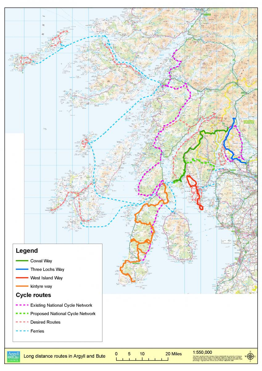 Long distance paths in Argyll map