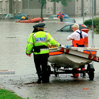Police and rescue crews