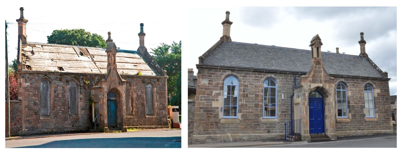 Building at Risk, Old School Campbeltown, Before and After Restoration.