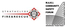 Strathclyde Fire and Rescue Logo and MAKI Community safety forum logo