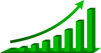 A stock image of a graph showing growth
