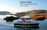 A picture of the front page of Argyll and Bute Council's Economic Development Strategy, showing a ferry