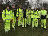 A photo of the team of litter pickers