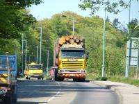 Timber lorry on a main road